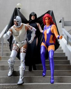Crazy, CRAYzee good Cyborg cosplay! along with Raven, & Starfire, cosplayed by gillykins, photographed by Jojo DesJardins - Teen Titans, DC comics