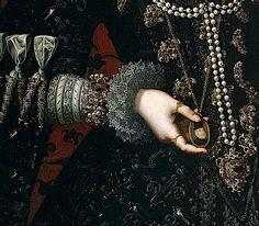 1598 Isabel Clara Eugenia by Juan Pantoja de la Cruz (Colección Real/Prado) aglets, false, sleeve, and girle | Grand Ladies | gogm
