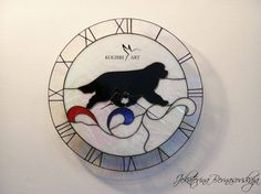 Stained Glass Clock with Newfoundland Dog in Movement, Tiffany technique, Unique…