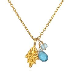 Satya Jewelry - Blue Topaz & Aquamarine Hamsa Necklace (1.121.820 IDR) ❤ liked on Polyvore featuring jewelry, necklaces, mini charm necklace, blue topaz jewelry, hamsa hand charm, aquamarine jewellery and hamsa charm