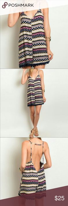 Adorable romper navy pink beige multi NWT. grab one of these adorable easy breezy romper. Lightweight. Slip on adjustable spaghetti straps. Crochet hem at bottom of shorts. Open back. Supposed to fit loose. Great coverup or just cool wear. Maybe with a bralet and some sandals. Your choice. Too cute. 💯 rayon. No stretch. Just lightweight material. Other