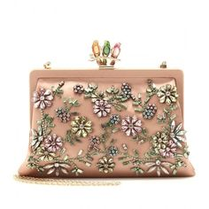 Valentino Glam Flower Satin Clutch With Embellishment ($3,243) ❤ liked on Polyvore
