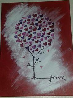 Love tree canvas painting