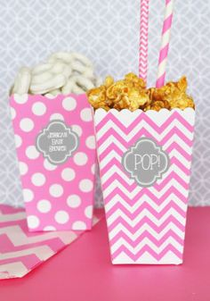 Popcorn Boxes Polkadot Striped and Chevron (Set of 12)