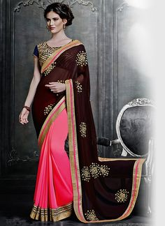 Be an angel and create and establish a smashing impact on for every person by carrying this black georgette designer saree. Beautified with embroidered, lace and resham work all synchronized well thro...