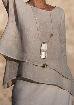 Beige linen top with off white mixed linen sarouel skirt Off white linen gauze scarf Long pendant necklace: polished white zebu horn patinated with gold lea Mode Chic, Mode Style, Style Me, Long Pendant Necklace, Linen Dresses, Mode Outfits, Ideias Fashion, Fashion Design, Fashion Trends