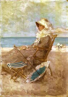 Woman on the Seashore - Nicolae Grigorescu (Romanian, Impressionism Monet, Mary Cassatt, Art Database, Art For Art Sake, Beach Art, Beautiful Paintings, Love Art, Female Art, Art History