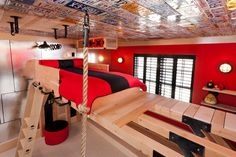 kid climbing room! Oh would LOVE to do this for Lincoln. I really like the old license plates on the ceiling!