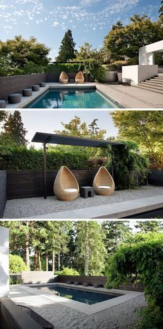 In this modern backyard there's a swimming pool and at one end, two sculptural chairs sit underneath a small pergola. Gravel surrounds the pool and a dark wood fence provides privacy. #Pergola #ModernBackyard #SwimmingPool #Landscaping #LandscapeDesign #smallswimmingpools #privacylandscape