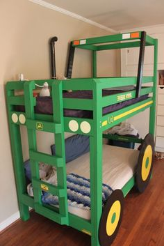 Kids Bedroom:Cool Green Bunk Bed With Antique Tractor Design Idea With Black Also White Beds Also White Kids Clothes Closet Also Cream Wall Also Laminate Floor Its Attractive Kids Beds To Inspire Your Kids Rooms 100 Ideas of Fashionable and Attractive Kids Beds to Inspire Your Kids Rooms