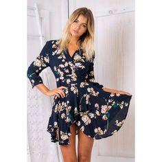 Black Floral Wrap V-neck Tie Waist Asymmetric Hem Dress ($27) ❤ liked on Polyvore featuring dresses, flower print dress, floral day dress, neck tie dress, floral necktie and floral print dress