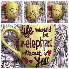 Oh my gosh, the CUTENESS!!! Great Christmas gift! Ir-elephant Coffee Mug/Tea Cup by CuppaCharisma on Etsy