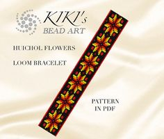 Bead loom pattern Huichol inspired flower by KikisBeadArts
