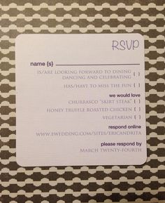 Sleek simple #RSVP cards