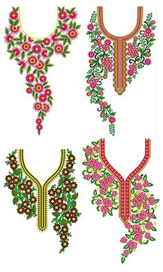 Hand Embroidery Design Patterns, Kurti Embroidery Design, Machine Embroidery Projects, Sewing Patterns, Embroidery On Kurtis, Hand Embroidery Dress, Embroidery Fashion, Ribbon Embroidery, Crochet Baby Dress Pattern