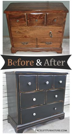 How this beat up pine dresser went from being an eyesore to an eye catcher - Before and After from Facelift Furniture(Diy Furniture Refurbish) Pine Furniture, Chalk Paint Furniture, Black Furniture, Refurbished Furniture, Repurposed Furniture, Shabby Chic Furniture, Furniture Projects, Furniture Making, Furniture Makeover