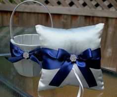 Silver Flower Girl Basket and Ring Bearer by UniquelyYouBridal