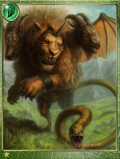Artist: Unknown name aka occult tissue - Title: kimaira - Card: Berserk Chimaera Mythological Creatures, Fantasy Creatures, Mythical Creatures, Greek Monsters, Greek And Roman Mythology, Medieval, Fiction, Fantasy Monster, Gods And Goddesses