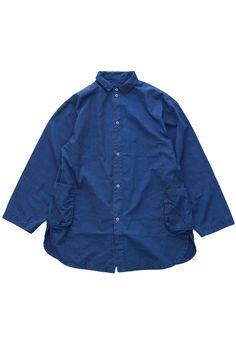 Porter Classic - DOT SHIRT JACKET - BLUE Porter Classic, Denim Button Up, Button Up Shirts, Shirt Jacket, Simple Style, Work Wear, Raincoat, Jackets, Blue