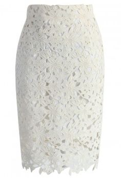 Full Flower Crochet Pencil Skirt in Off-white - Skirt - Bottoms - Retro, Indie and Unique Fashion