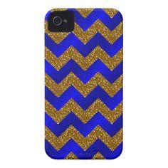 Glitter Chevron, Gold-Bright Blue iPhone 4/4s iPhone 4 Case-Mate Cases #zazzle #iphone4 #phonecases #chevron #glitter #blue