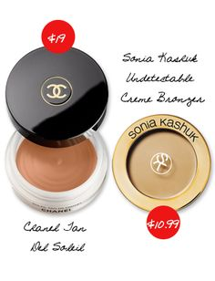 Splurge vs. Steal: Makeup You Have to Have | Daily Makeover - Want a gorgeous glow? Sonia Kashuk Undetectable Creme Bronzer ($10.99, target.com) can be swapped out for Chanel Tan Del Soleil ($48, chanel.com).