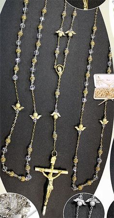 Gorgeous crystal beaded mexican wedding lasso with large cross imported from Italy - gold or silver. $74.95