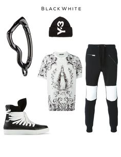 Black   White Fashion Set Clockwise: Arcus Carabiner keychain by SVØRN, Beanie by Y-3, Track Pants by LES HOMMES, Madonna print T-shirt by DOLCE & GABBANA, Sneakers by KRIS VAN ASSCHE