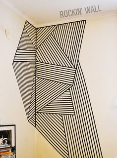 Much precision is required, but it can look REAL good Washi Tape Wall, Tape Wall Art, Tape Art, Diy Wall Decor, Diy Home Decor, College Bedroom Decor, Electrical Tape, Photo Wall Collage, My New Room
