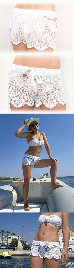 Crochet padrão calções de praia em algodão crochet PDF calções Kate Hudson