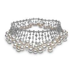 YOKO London collar in white gold featuring 9-14mm South Sea pearls and 24.45cts of diamonds (POA).