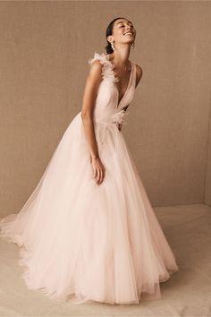 Blush Pink Wedding Dress, Green Wedding Dresses, Bhldn Wedding Dress, Blush Gown, Blush Dresses, Perfect Wedding Dress, Wedding Gowns, Bridesmaid Dresses, Wedding Shoes