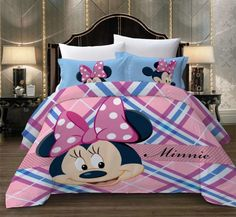 MINNIE MOUSE DUVET COVER WITH TWO PILLOW CASES FLAT SHEET FULL SIZE 4 PC SET Minnie Mouse Bedding, Disney Bedding, Mickey Minnie Mouse, Full Size Duvet Cover, Kids Bedding Sets, Soo Jin, Kids Blankets, Soyeon, Throw Pillow Cases