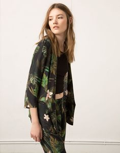 Bershka tropical print blazer - Blazers & Kimonos - Bershka United Arab Emirates