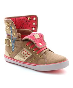Another great find on #zulily! Tan & Pink Pinwheel Hi-Top Sneaker by Pastry #zulilyfinds