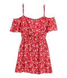 Vestido hombro descubierto | Rojo/Minifloral | Mujer | H&M CL