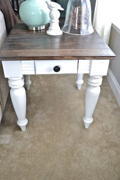 DIY End table - I like the dark stain on the table top with the rest of it painted white!