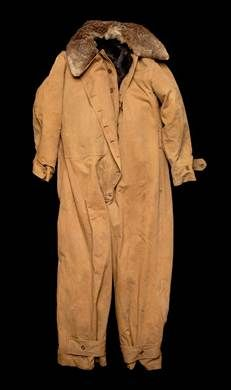 Sidcot flight suit, circa 1916 -1918, made of wool and black bear fur.