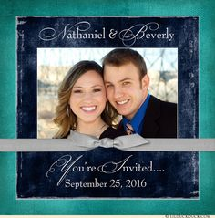 Navy, Gray & Teal Cardstock Invitation - Front