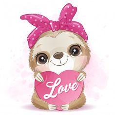 Cute Sloth Hugging With Love Panda Illustration, Unicorn Illustration, Boat Cartoon, Deer Cartoon, Cute Cartoon, Baby Animals, Cute Animals, Baby Giraffes, Wild Animals