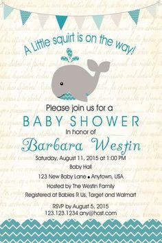 Whale Nautical Baby Shower invitation