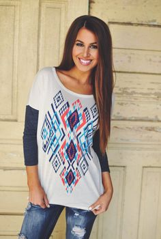 Dottie Couture Boutique - Aztec Tunic in Oatmeal/Navy , $36.00 (http://www.dottiecouture.com/aztec-tunic-in-oatmeal-navy/)