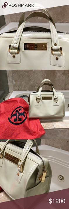 Cream Patent Leather Tory Burch Handbag Amazing👀 One owner and purchased at Neiman Marcus several years ago. I can't find anything like it to compare current value so right now I'm firm on price.  Bundle to save 5% is the only discount offered at this time.    Gorgeous Tory Burch handbag!   Someone is going to 💕 Love 💕 this bag. I believe this is called banana cream patent leather.  I'm still researching it.  Thanks for looking. Tory Burch Bags Satchels