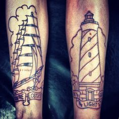 Double shin tattoos :) If you're lost at sea, look to the light to guide you :) #tattoo