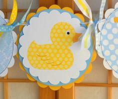 Yellow rubber duckies baby shower invitations   Baby Shower Banner Rubber Ducky Baby Boy by OneFantasticParty