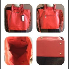 New BCBG Paris Fringe Tote Red New w tags, Has magnetic top closure interior zippered closure pocket and to drop pockets has adjustable buckle straps, strap drop is 8 inches, 100% polyurethane. BCBG Bags Totes