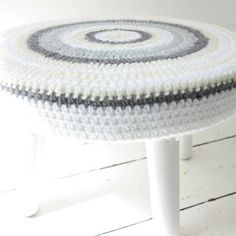 Crochet cover for thrifted stool