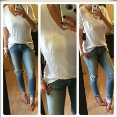 Most FavePerfect white pocket top Can be a casual and dressy. Light and comfy, semi sheer. Perfect under a blazer or sweater / cardi. Branded. Modeling med. larges for Ashley. Tops