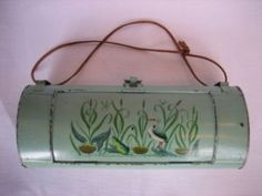 Toleware - Antique Tole Hunters Lunch Box - Stork & Frog, c.1900