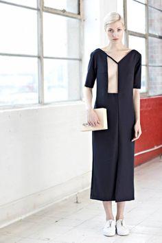 Charlotte Ham / minimalist geometric cut out black dress